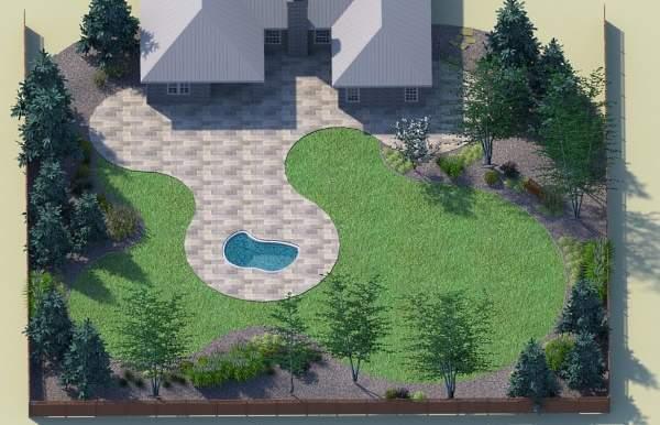 Планировка участка загородного дома с бассейном и террасой
