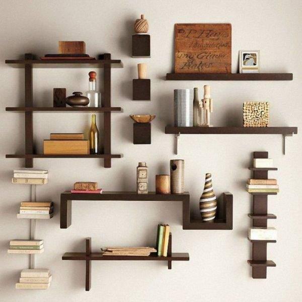 Деревянные полки на стену для книг и декора