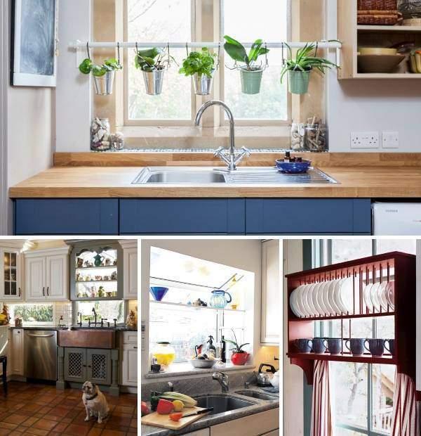 Как украсить окно на кухне - идеи полок своими руками
