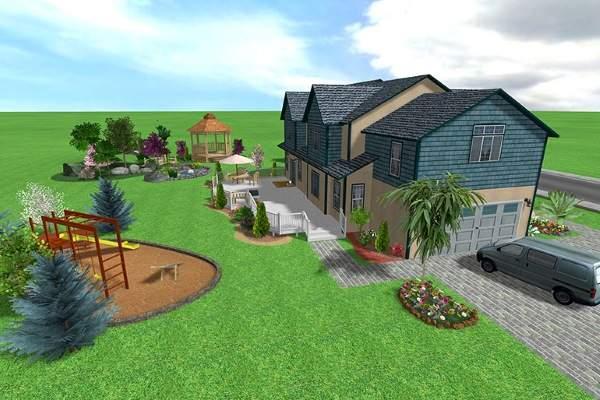 Ландшафтный дизайн загородного дома 10 соток - фото с детской площадкой
