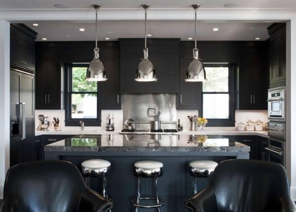 Расположение светильников на потолке - фото в интерьере кухни
