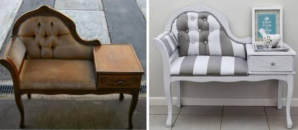 Ремонт и обивка мягкой мебели до и после