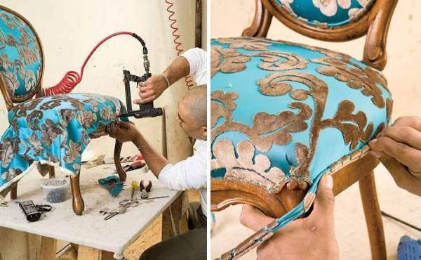 Перетяжка мягкой мебели - пошаговый пример с фото