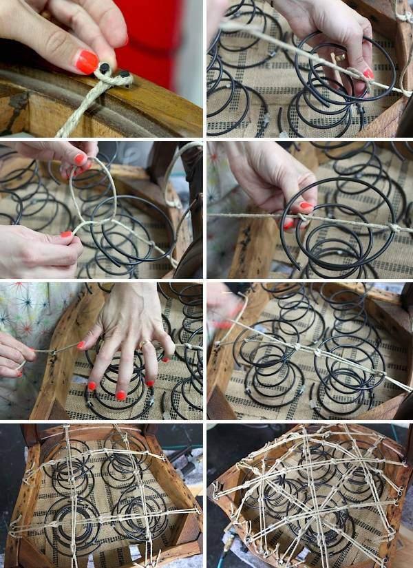 Как выполнить ремонт мягкой мебели - фото крепления пружин