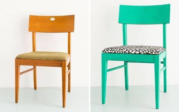 Реставрация мягкой мебели - фото обеденного кресла