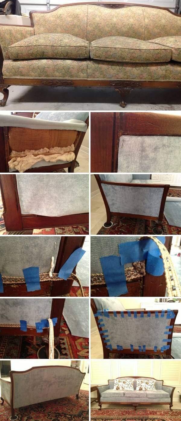 Перетяжка мягкой мебели своими руками - фото дивана до и после
