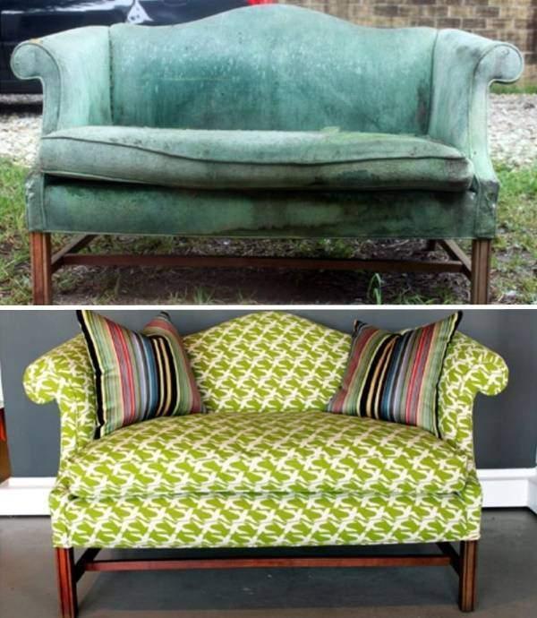 Перетяжка мягкой мебели - фото дивана до и после замены обивки