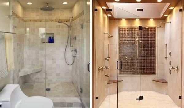 Расположение точечных светильников на потолке - фото в ванной
