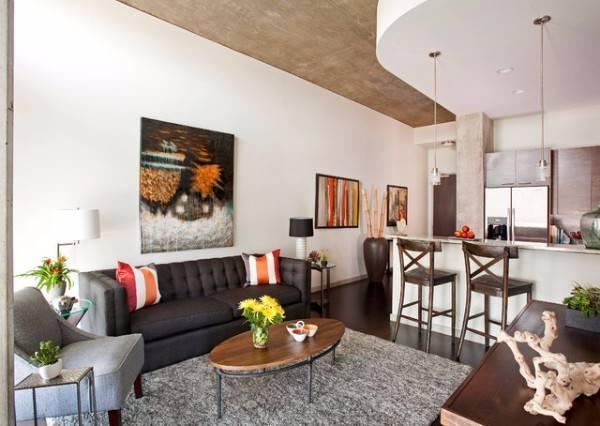 Интерьер однокомнатной квартиры с зонированием