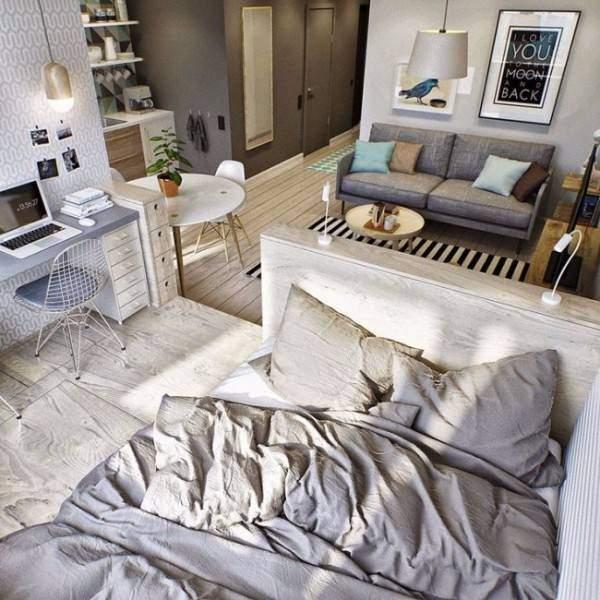 Спальня в интерьере однокомнатной квартиры
