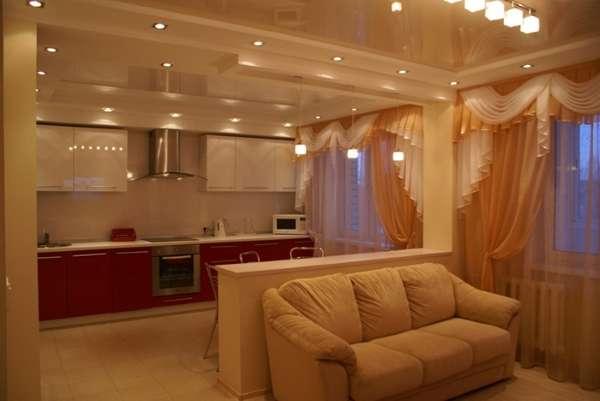 Дизайн интерьера кухни гостиной в частном доме - фото перегородки