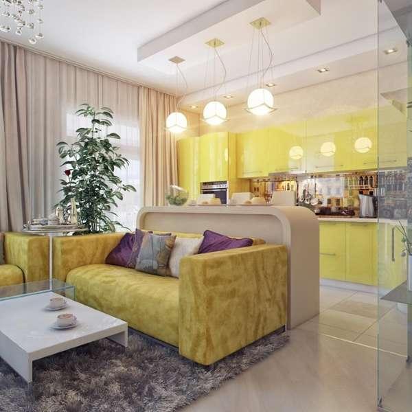 Интерьер кухни гостиной - как визуально разделить барной стойкой и светильниками