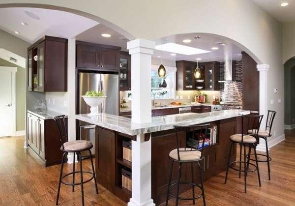 Идеи планировки кухни гостиной в дизайне частного дома