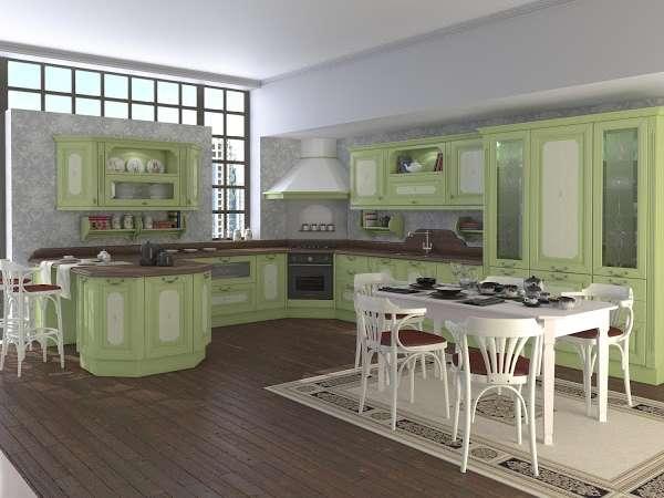 Интерьер большой кухни в частном доме - фото в стиле прованс