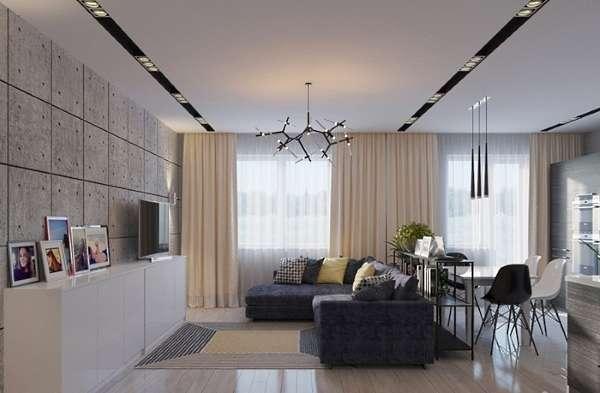 Дизайн интерьера кухни, совмещенной с гостиной в стиле лофт 2017