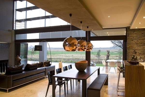 Дизайн интерьера частного дома - кухня гостиная в современном стиле