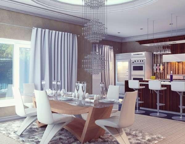 Светильники в интерьере кухни столовой в частном доме