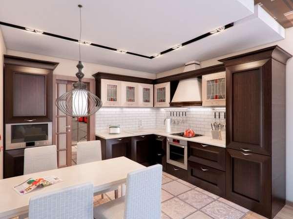 Интерьер маленькой кухни с барной стойкой в частном доме - фото