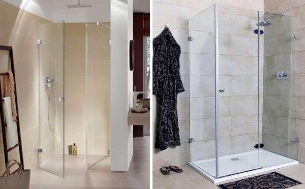 Угловые душевые двери из стекла - фото в интерьере ванной