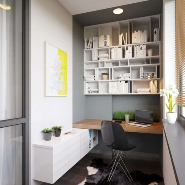 Интерьер балкона в квартире - домашний офис