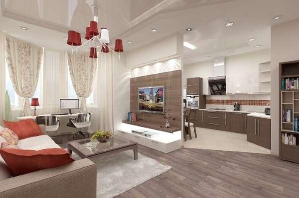 Интерьер кухни частного дома, совмещенной с гостиной