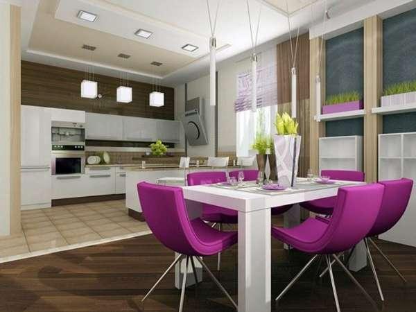 Дизайн кухни столовой в интерьере частного дома - фото 2017