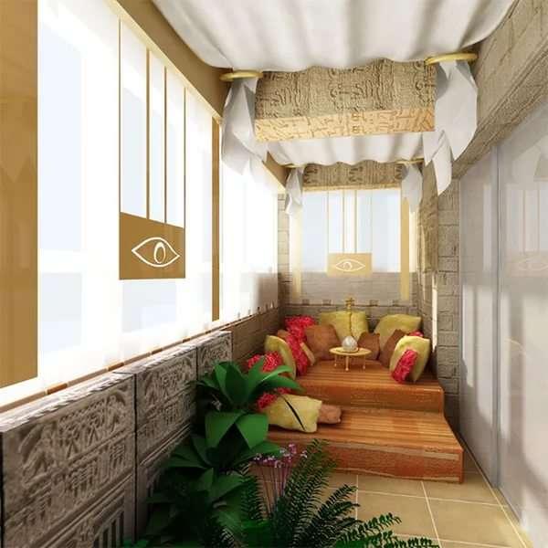 Дизайн балкона в квартире - фото в восточном стиле