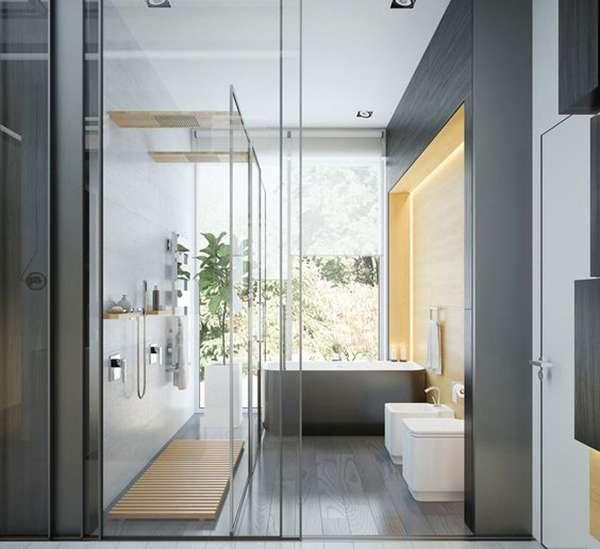 Стеклянные раздвижные двери для душевой - фото в интерьере