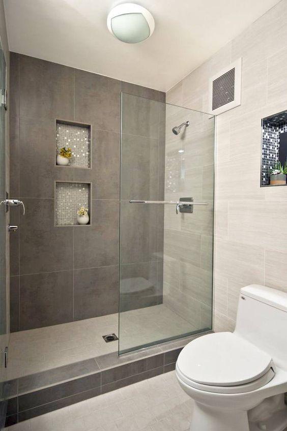 Стеклянные двери для душевой - фото в интерьере ванной