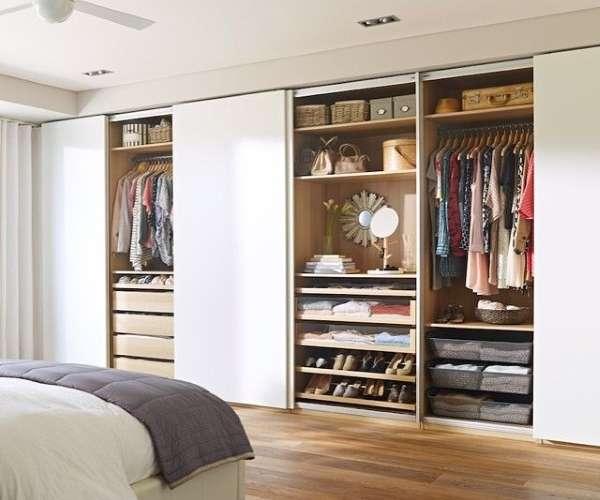 Современные большие шкафы купе в спальню - фото внутри
