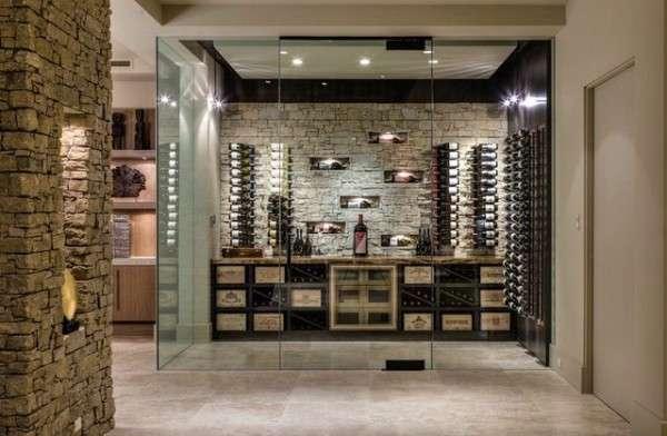 Частный дом - интерьер дизайн внутри - винный погреб