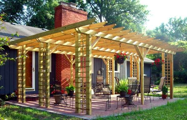 Навес беседка в дизайне двора частного дома