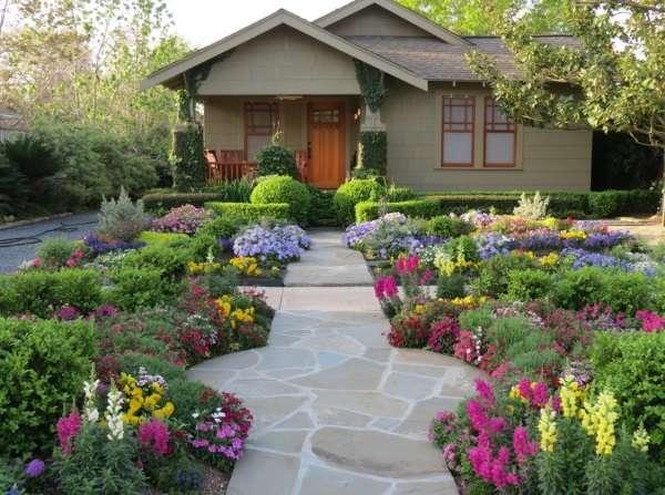 Дизайн двора частного дома - фото современных дворов с цветами