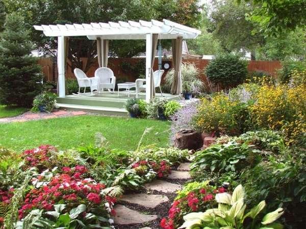 Фото красивых дворов частных домов с цветами
