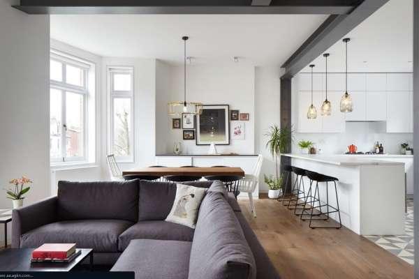 Современная кухня гостиная в частном доме - фото дизайна