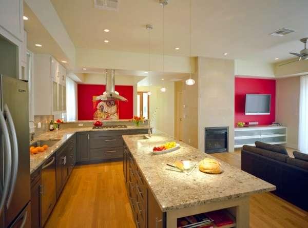 Современный дизайн совмещенной кухни гостиной в частном доме