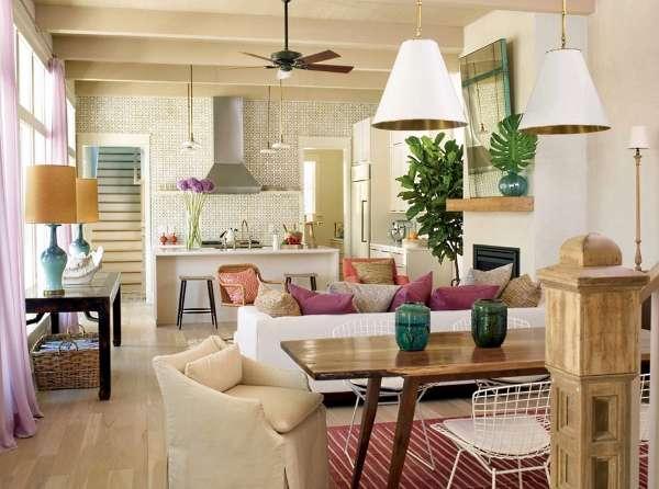 Дизайн маленькой кухни гостиной в частном доме - фото интерьра