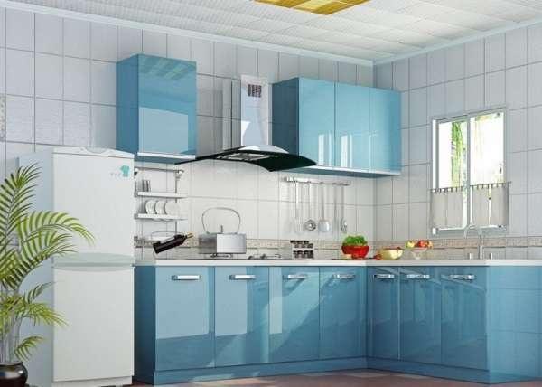 Дизайн угловой кухни в частном доме - фото в голубом цвете