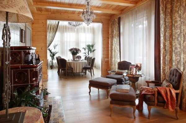 Дизайн интерьера загородного дома из бруса в стиле классика