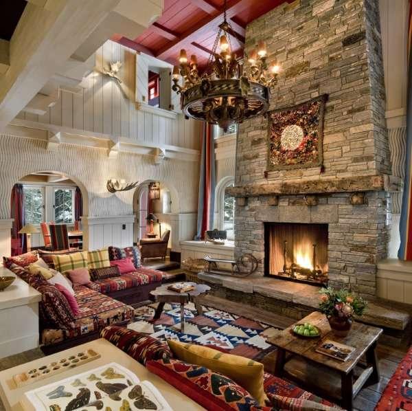 Дизайн интерьера дома внутри - фото в стиле шале