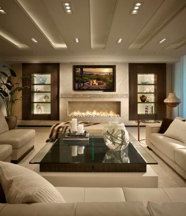 Современный дизайн интерьера дома в сочетании белого и коричневого цвета