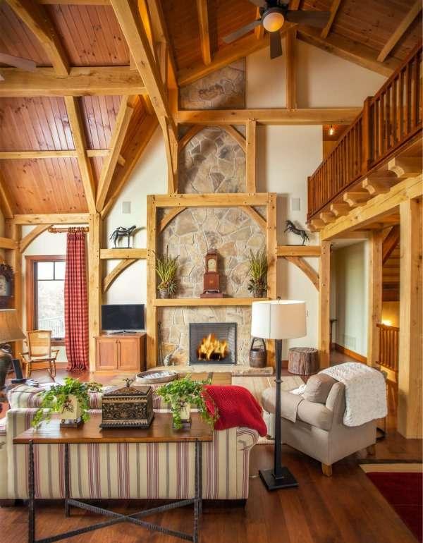 Дизайн интерьера дома из бруса - фото гостиной