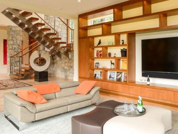 Интерьер загородного дома в современном стиле - фото внутреннней отделки