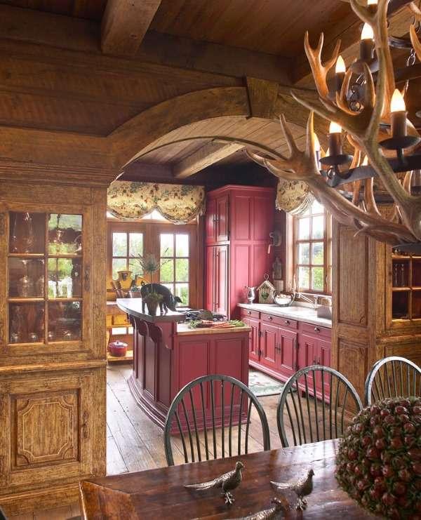 Дизайн интерьера деревянного дома - фото кухни в стиле шале