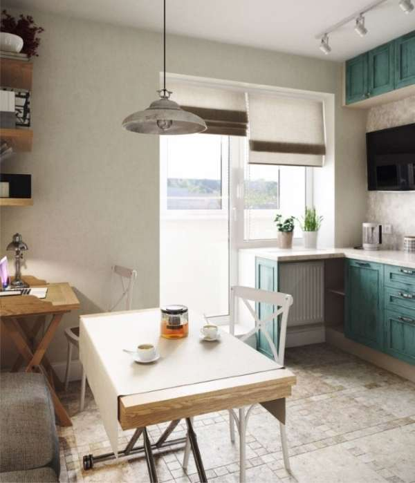 Дизайн кухни с балконом в маленькой квартире студии - фото