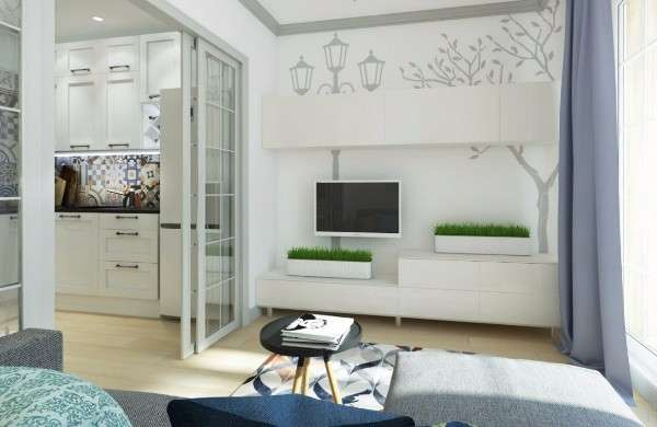 Дизайн маленькой квартиры студии 25 кв м - фото гостиной