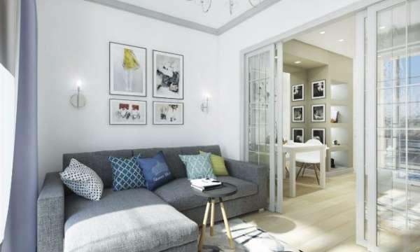 Маленькая квартира студия - дизайн интерьера фото гостиной зоны
