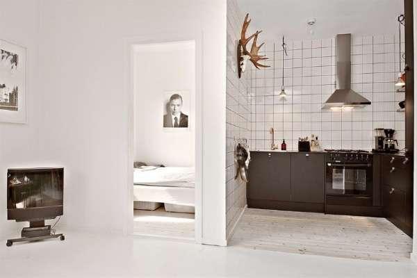 Дизайн интерьера кухни в маленьких квартирах студиях - фото в черно-белом цвете