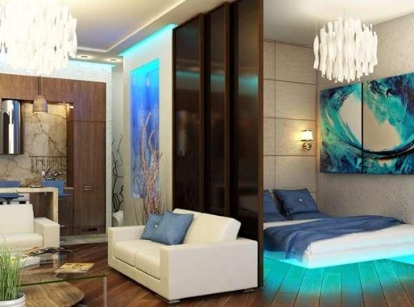 Дизайн кухни, гостиной и спальни в квартире студии в стиле хай тек