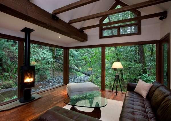 Дизайн интерьера загородного дома - фото комнат в стиле эко